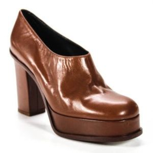 BNWT Céline walnut leather platform heels